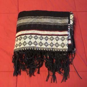 Large knit, gray detail poncho/wrap